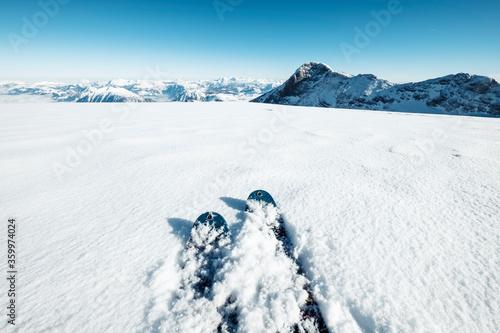 Canvas Print Austria, Upper Austria, Skis lying in snow at Dachstein Glacier