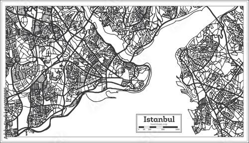 Fotografie, Obraz Istanbul Turkey City Map in Black and White Color in Retro Style
