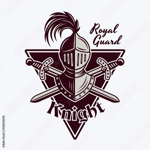 Stampa su Tela Knight helmet and crossed swords vector emblem
