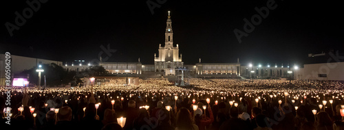 Procession of candles at the Sanctuary of Our Lady of Fatima, in Portugal.