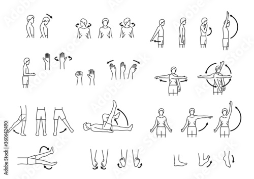 Foto human body range of motion, body movement icon set