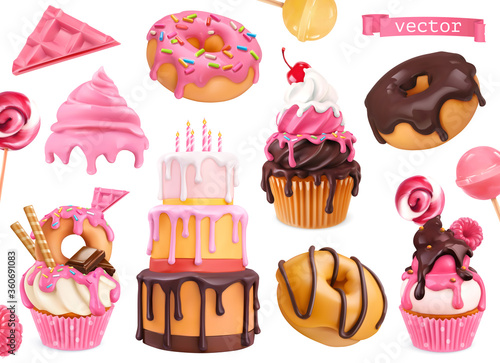 Wall mural Sweets 3d vector realistic objects. Cupcakes, cake, donuts, candy. Food icons