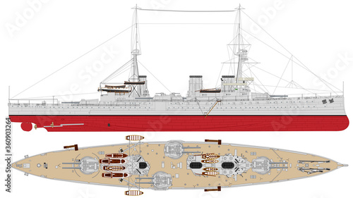 Canvas Print HMS Invincible (1916) -- Royal Navy battlecruiser sunk at the Battle of Jutland during World War I
