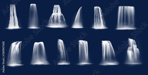 Fotografie, Obraz Waterfalls realistic vector of mountain river water falls and cascades