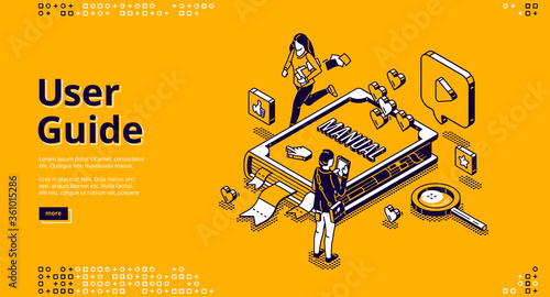 Photo User guide isometric landing page, tiny people around of huge manual book, woman carry documents, man use gadget