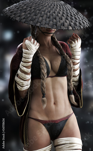 Photo Fantasy female warrior dressed in a sexy cloak outfit with hand and leg wraps and coolie hat with brown pigtails hairstyle