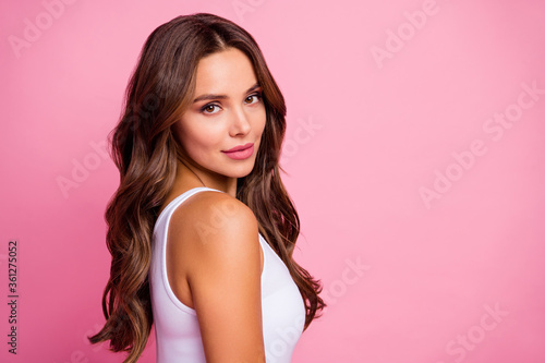 Canvas Print Profile photo of attractive pretty lady long perfect hair amazing tanned skin fl