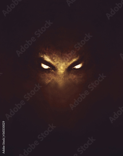the face of a demon with glowing eyes, in the dark - a painting Tapéta, Fotótapéta