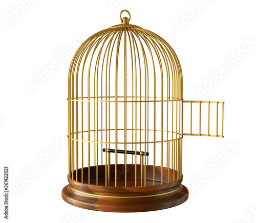 Fotografie, Tablou Wooden base gold birdcage with open door isolated on white background
