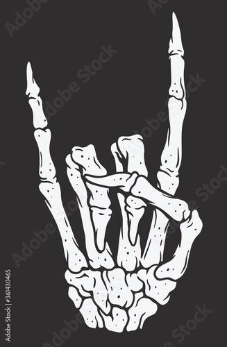 Fényképezés Skeleton hand making rock sign. Vintage illustration style.