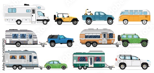 Slika na platnu Camping caravan set
