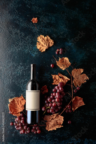 Obraz na plátne Bottle of red wine with ripe grapes and dried up vine leaves.