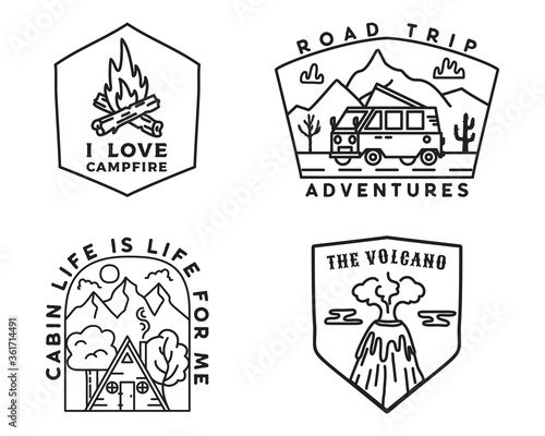 Vintage mountain camp badges logos set, Adventure stickers. Hand drawn emblems bundle. Road trip, Travel expedition, campfire labels. Outdoor hiking designs. Linear Logotypes collection. Stock vector. Fototapete