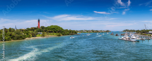 Fotografie, Obraz Jupiter lighthouse  panorama at sunny summer day in West Palm Beach, Florida