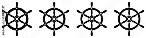 Tablou Canvas Ship steering wheel set. Boat steering wheels. Vector