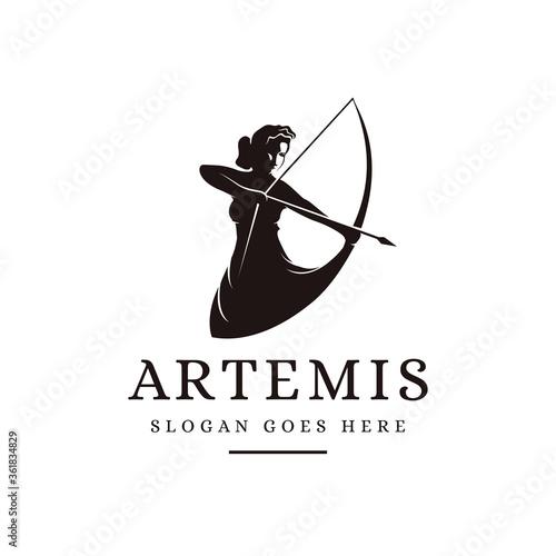Photo Artemis Goddess logo icon illustration vector on white background, archer logo