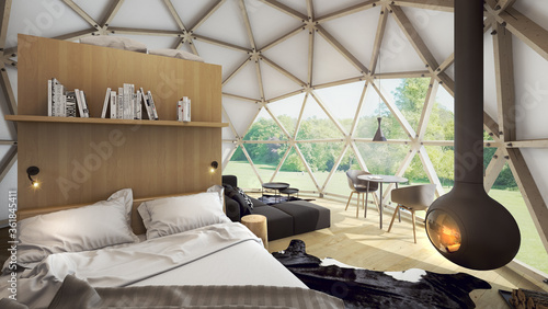 Leinwand Poster Geodesic dome tent as hotel