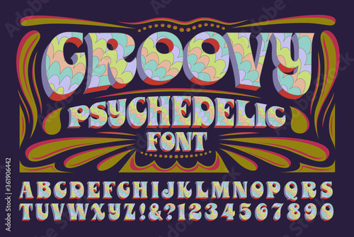 Wallpaper Mural A Groovy Hippie Style Psychedelic Alphabet; This 1960s Style Font Has Multicolor
