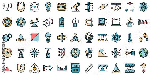 Canvas Print Physics icons set