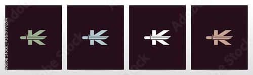 Valokuva Tactical Knife On Letter Logo Design K