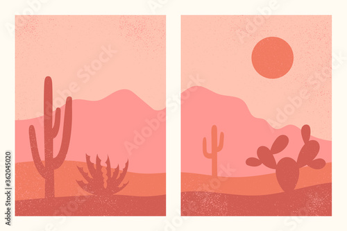 Abstract contemporary aesthetic backgrounds set with southwestern landscape, desert, mountains, cactuses Fototapeta