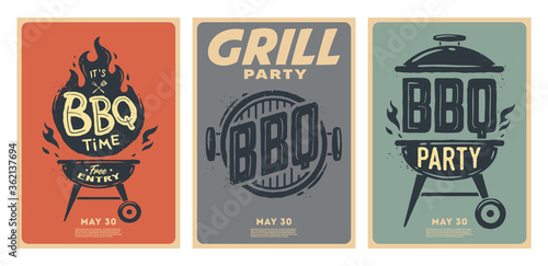 Canvas-taulu Set of barbecue posters