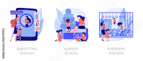 Photo Kids bringing up and leasure time abstract concept vector illustration set