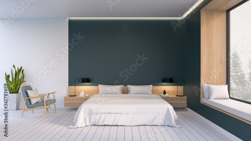 Minimalist Interior Of Bedroom ,white Bed With Easy Armchair On White Flooring And Dark Green Walll