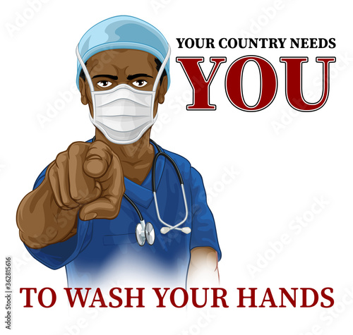 Photo A nurse or doctor in surgical or hospital scrubs and mask pointing in a your country needs or wants you gesture