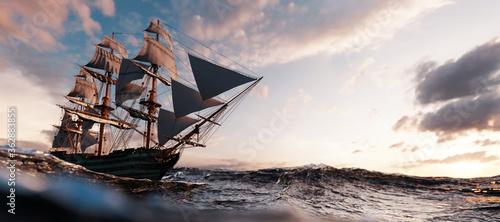 Obraz na płótnie Pirate ship sailing on the ocean at sunset