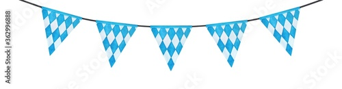 Fotografía Watercolour drawing of bright festive bunting with Bavarian triangle flags