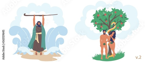 Valokuva Staff of Moses, Adam and Eve Bible Stories characters, vector flat illustration