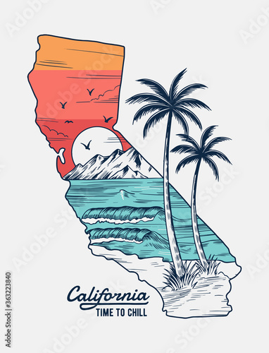 Fényképezés California vector illustration, for t-shirt print, posters and other uses