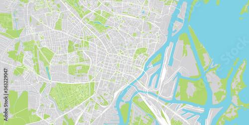 Obraz na plátně Urban vector city map of Szczecin, Poland