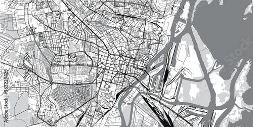 Fototapeta Urban vector city map of Szczecin, Poland
