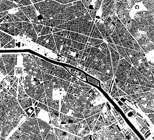 Canvas Print map of the city of Paris, France