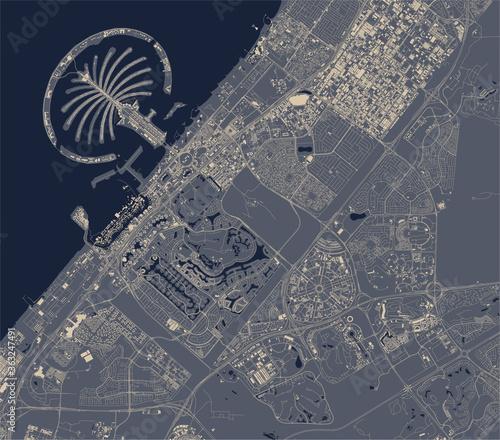 Fotografie, Obraz map of the city of Dubai, United Arab Emirates UAE