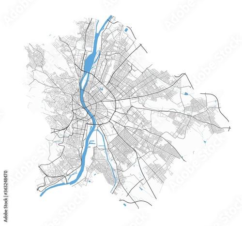 Canvas Print Budapest map