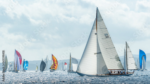 Obraz na płótnie Sailboats In Sea Against Sky
