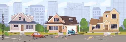 Slika na platnu Earthquake city panorama vector illustration