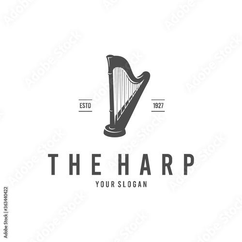 Canvas Print harp silhouette logo vector