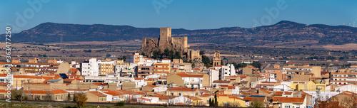 Aerial View Of Townscape Against Sky. castillo De Almansa, Albacete. España castle Of Spain