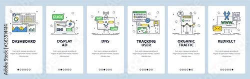Vászonkép User activity tracking mobile app onboarding screens, vector website banner temp