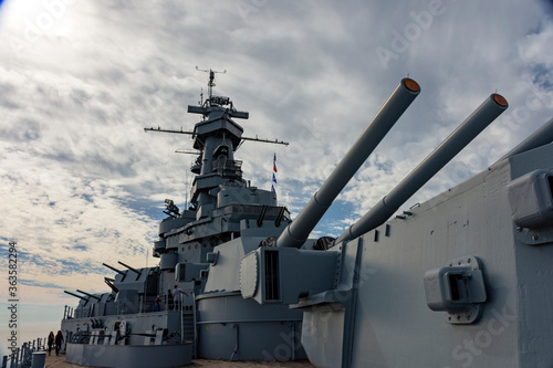 Photo old battleship that is now a museum in Alabama