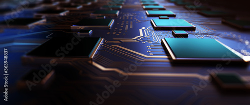 Printed circuit board futuristic server/Circuit board futuristic server code processing. Orange, green, blue technology background with bokeh. 3D Rendering