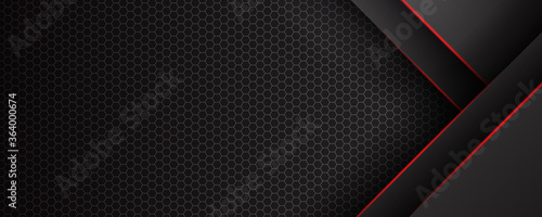 Foto Abstract black red grey metallic carbon neutral overlap red light hexagon mesh design modern luxury futuristic technology background vector illustration