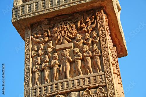 Photo The Great Sanchi Stupa, Buddhist Architecture at sanchi, Madhya Pradesh, India