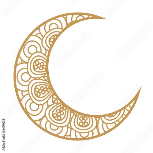 Vászonkép crescent moon golden on white background vector illustration design