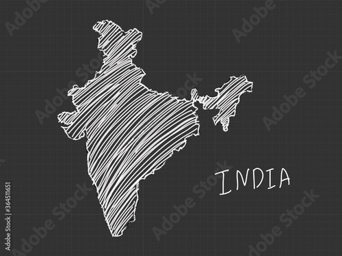 Wallpaper Mural India map freehand sketch on black background.
