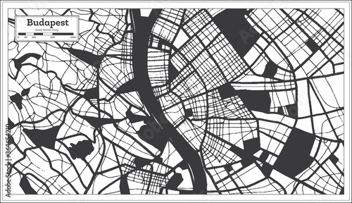 Photo Budapest Hungary City Map in Black and White Color in Retro Style